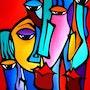 Crazy Loco - Original Abstract painting Modern pop Art faces by Fidostudio. Fidostudio.com