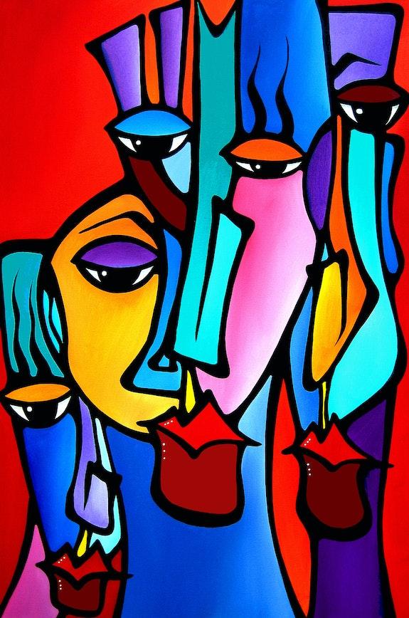 Crazy Loco - Original Abstract painting Modern pop Art faces by Fidostudio. Thomas Fedro Fidostudio.com