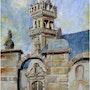 Plabennec clocher centre bourg acrylique. Rémy Nicolas