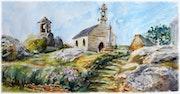 Kerlouan et alentour chapelle aquarelle 2014.