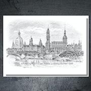 Blick auf die historische Altstadt von Dresden. Atelier Ludewig-Richter