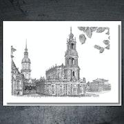 Schloß mit Hausmannsturm, Katholische Hofkirche und Semperoper in Dresden. Atelier Ludewig-Richter