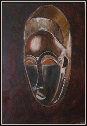 Masque Baoulé africain, huile sur bois. Maï Laffargue