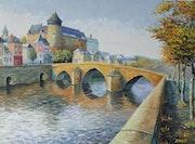 Vieux pont et chateau à Laval.