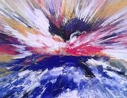 Peinture abstraite composition ou coucher de soleil en bretagne.