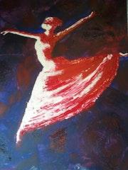 Danseuse, peinture Acrylique et huile au couteau sur chassis entoilé..