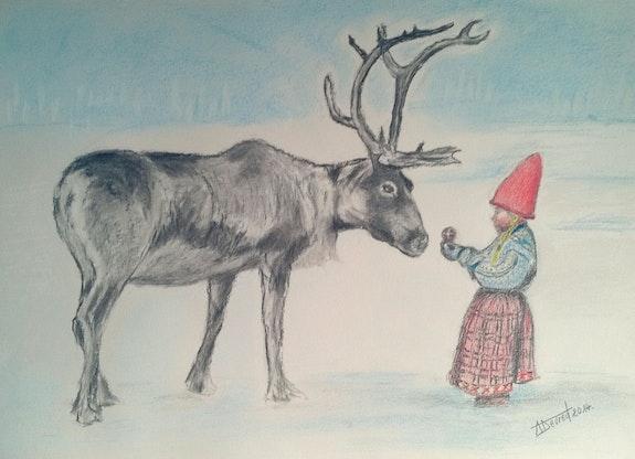 Le renne et l'enfant. Alain Devred Alain Devred