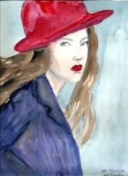 Femme en rouge et bleu.