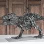 T-rex dinosaur scrap metal art sculpture. Mari9Art