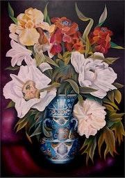 Les paéonias blanches au vase d'IZNIK calligraphié.