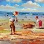 Enfants a la plage. Gilbert De St Amans