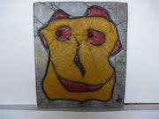 Tableau en beton avec relief et couleurs.