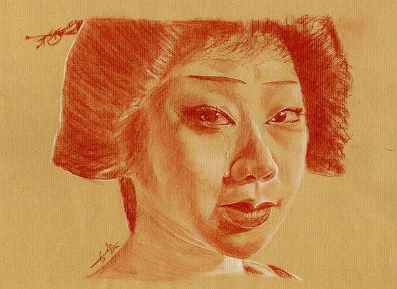 Geisha, sanguine sur Kraft 080115. Philippe Flohic Philippe Flohic