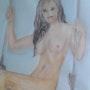 Nu de femme jeune fille sur la balançoire. Bernard Ochietti