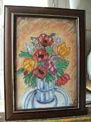 Vase égayé par ces fleurs de Printemps. Josiane Joly