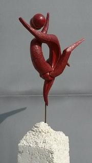 Sculpture en terre cuite «retrouvailles». Muriel Manificat
