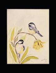 Aquarelle et ses oiseaux siffleurs. Perlimpinperles