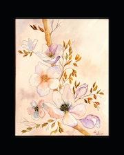Aquarelle et ses fleurs de printemps. Perlimpinperles