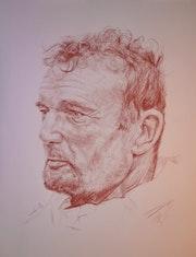 Eric Tabarly, portrait à la sanguine (création du 240115).