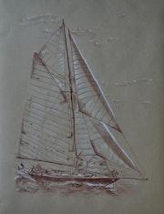 Pen Duick sépia sur kraft par Philippe Flohic 220115.