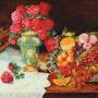 Coupe de fruits et fleurs. Art d'antan
