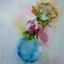 Aquarelle de 2 roses dans le vase bleu. Yokozaza