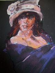 La femme au chapeau rose. Viviane Cabanat