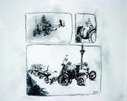 Vehicels (Landmaschinen 1925 (Lanz), 1940.2004) - Kohlezeichnung auf Papier.