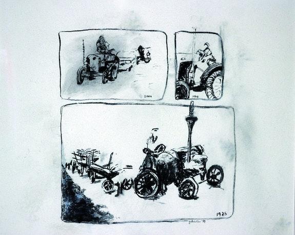 Vehicels (Landmaschinen 1925 (Lanz), 1940.2004) - Kohlezeichnung auf Papier. Gabriolisa Gabriolisa