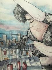 Vol au dessus des toits de Paris.