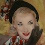 Peinture sous verre - Portrait des années 50. Annie Saltel