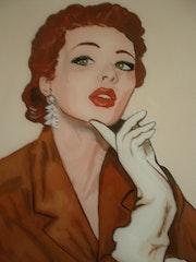 Peinture sous verre - Visage des années 50.