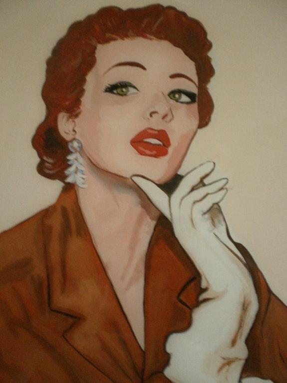 Peinture sous verre - Visage des années 50. Annie Saltel Annie Saltel