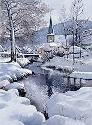 Sewen, village Alsacien sous la neige par une belle journée ensoleillée.