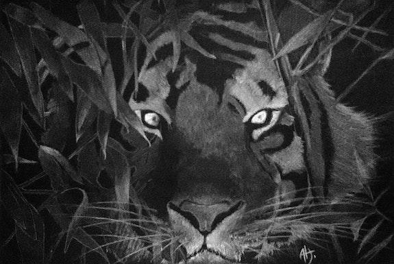 Tigre dans les fourrés. Alexandra Hubert L'atelier d'alexandra
