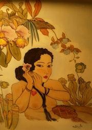 Peinture sous verre - Fleurs du Levant.