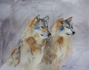 Aquarelle les loups. Yokozaza