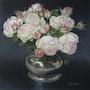 Etain et roses anciennes. Jacqueline Hautbout