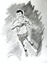 Portrait de légende. Ancienne gloire du rugby français. Sergio