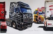 Peinture sur cabine de camion. Gilbert Verani