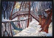 Spreewaldbrücke im Winter.
