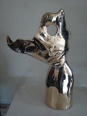 Amour masque Bronze poli. Sonia Mandel Mon Atelier. «La Rose Des Vents»
