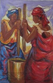 Femmes pilant le mil. Avenir Serein