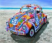 Herbie incognito, yarnbombed vw beetle. Vera Cauwenberghs