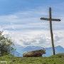 Au pied de la croix, vache, croix, ciel bleu. Jmphotographie