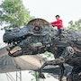 Life size T-Rex dinosaur Metal art - scrap metal T-rex sculpture. Mari9Art
