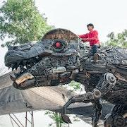 Taille T-Rex dinosaure Métal sculpture d'art - ferraille T-rex.