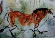Aquarelle le cheval, grotte de Lascaux. Yokozaza