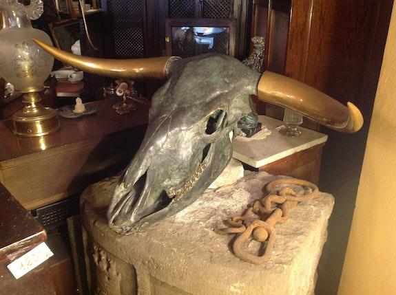 Cabeza De Toro Sculpture en bronze Great American origine..  Antiguedadesoratam