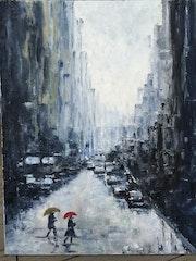 New York sur la pluie.